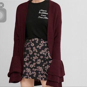 Express knit ruffle sleeves cardigan small